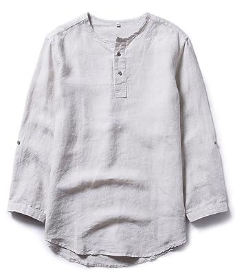 0cf5e11640765 Insun Hombres Camisa de Lino Casual Camisetas de Manga 3 4  Amazon.es  Ropa  y accesorios