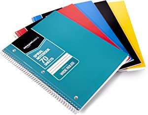 AmazonBasics Wide Ruled Wirebound Sprial Notebook, 70 Sheet, Assorted Solid Colors, 45-Pack