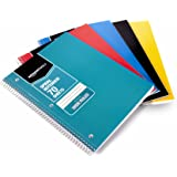AmazonBasics Wide Ruled Wirebound Spiral Notebook, 70 Sheet, Assorted Solid Colors, 5-Pack