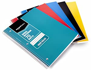 AmazonBasics Wide Ruled Wirebound Notebook, 70-Sheet, Assorted Solid Colors, 5-Pack