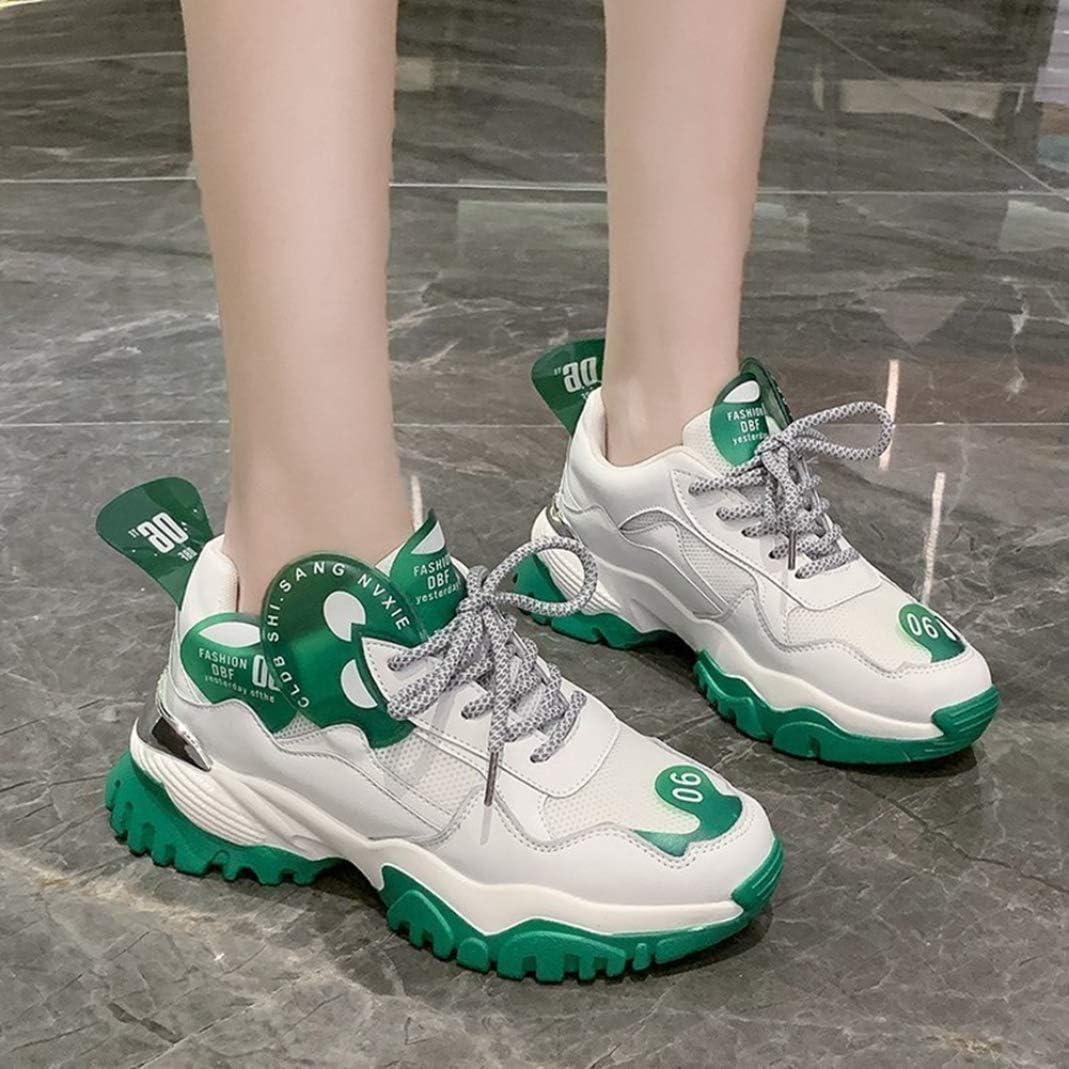 Lady Sport Chaussures Antidérapant Respirant Plate-Forme Casual Sneakers Été Automne À Lacets Concis Chunky Chaussures Casual Sneakers Vert