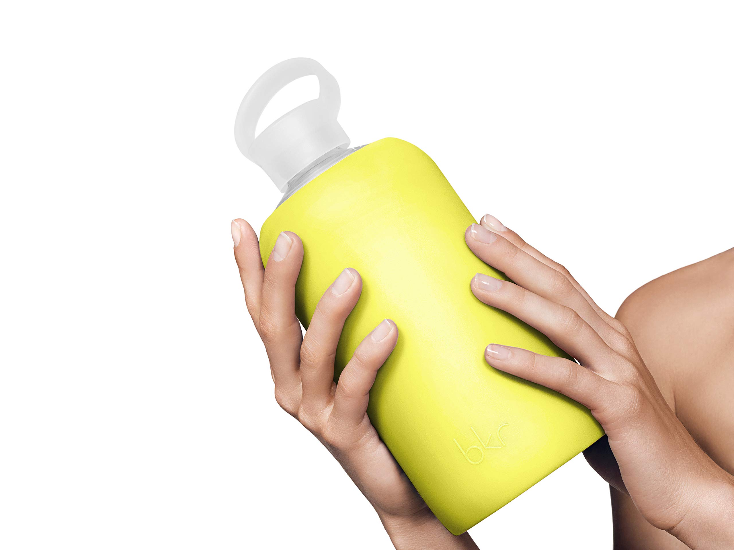 bkr Gigi Glass Water Bottle with Smooth Silicone Sleeve for Travel, Narrow Mouth, BPA-Free & Dishwasher Safe, Opaque Lime Yellow, 1 Count by bkr (Image #6)