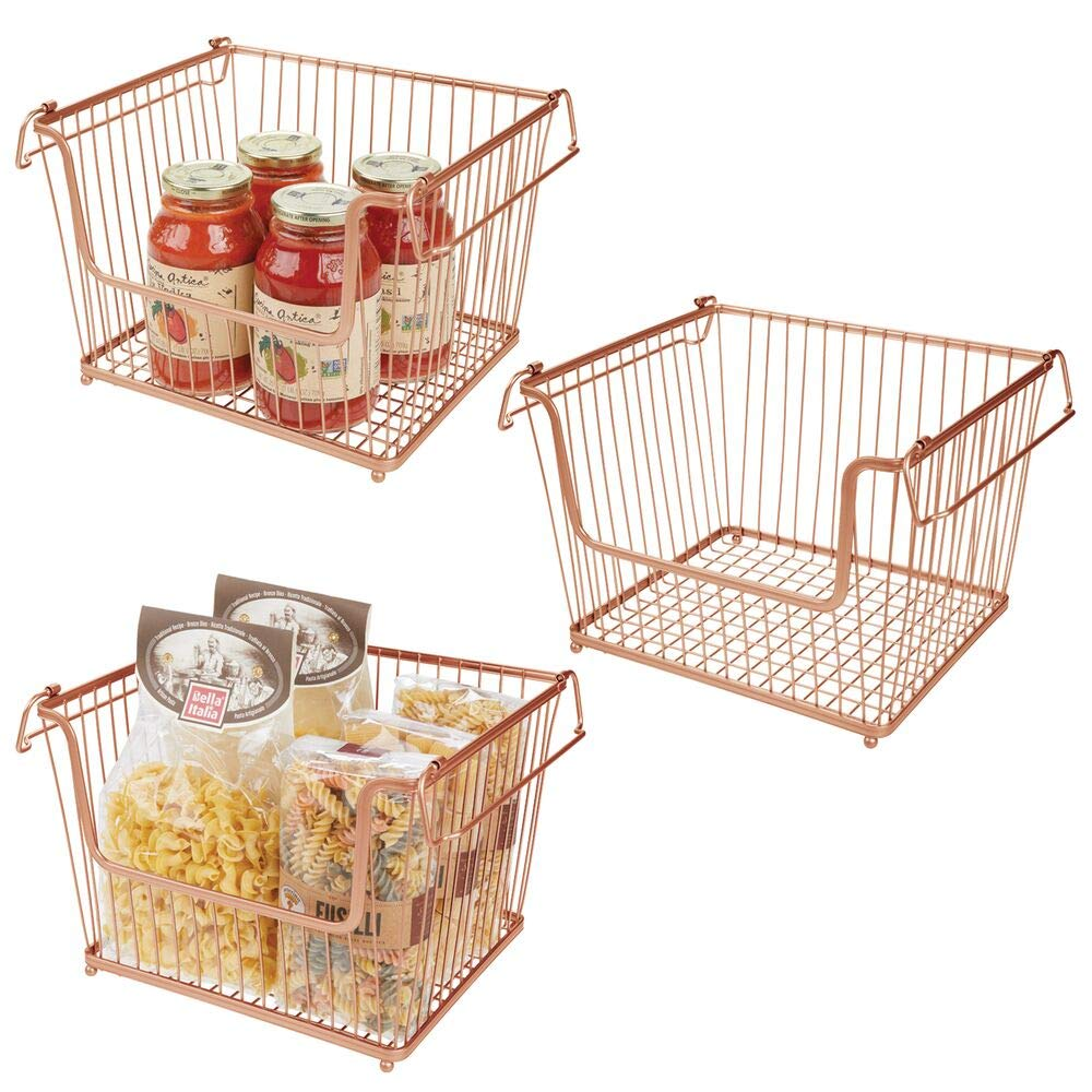 Large Bedrooms Closets Open Front For Kitchen Cabinets 3 Pack Mdesign Modern Stackable Metal Storage Organizer Bin Basket With Handles Copper Bathrooms Pantry Cabinet Drawer Organization Kitchen Dining Fcteutonia05 De