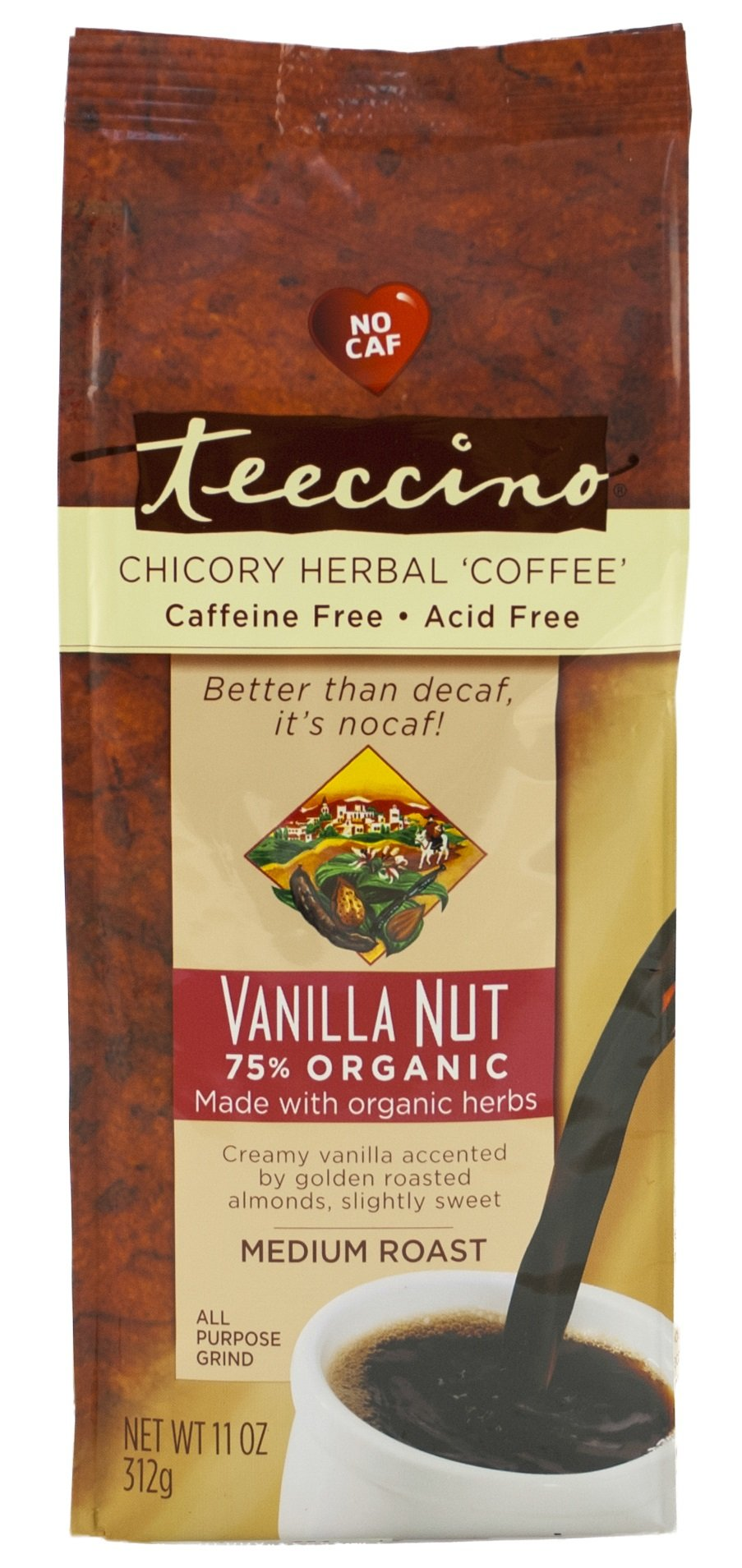 Teeccino Vanilla Nut Chicory Herbal Coffee Alternative, Caffeine Free, Acid Free,  11 Ounce (Pack of 3)