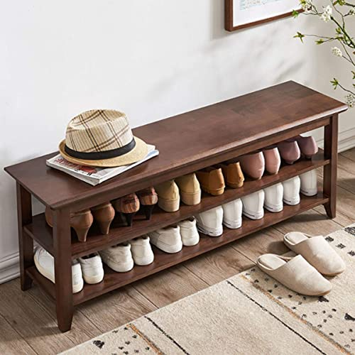 ACRO Storage Bench Wooden Shoe Bench Rustic Solid Wood Entryway Bench Brown,47.2″
