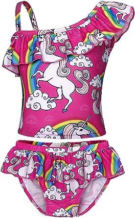 Cotrio Little Mermaid Swimsuit Girls Kid Swimwear Bikini Set Toddler Bating Suit