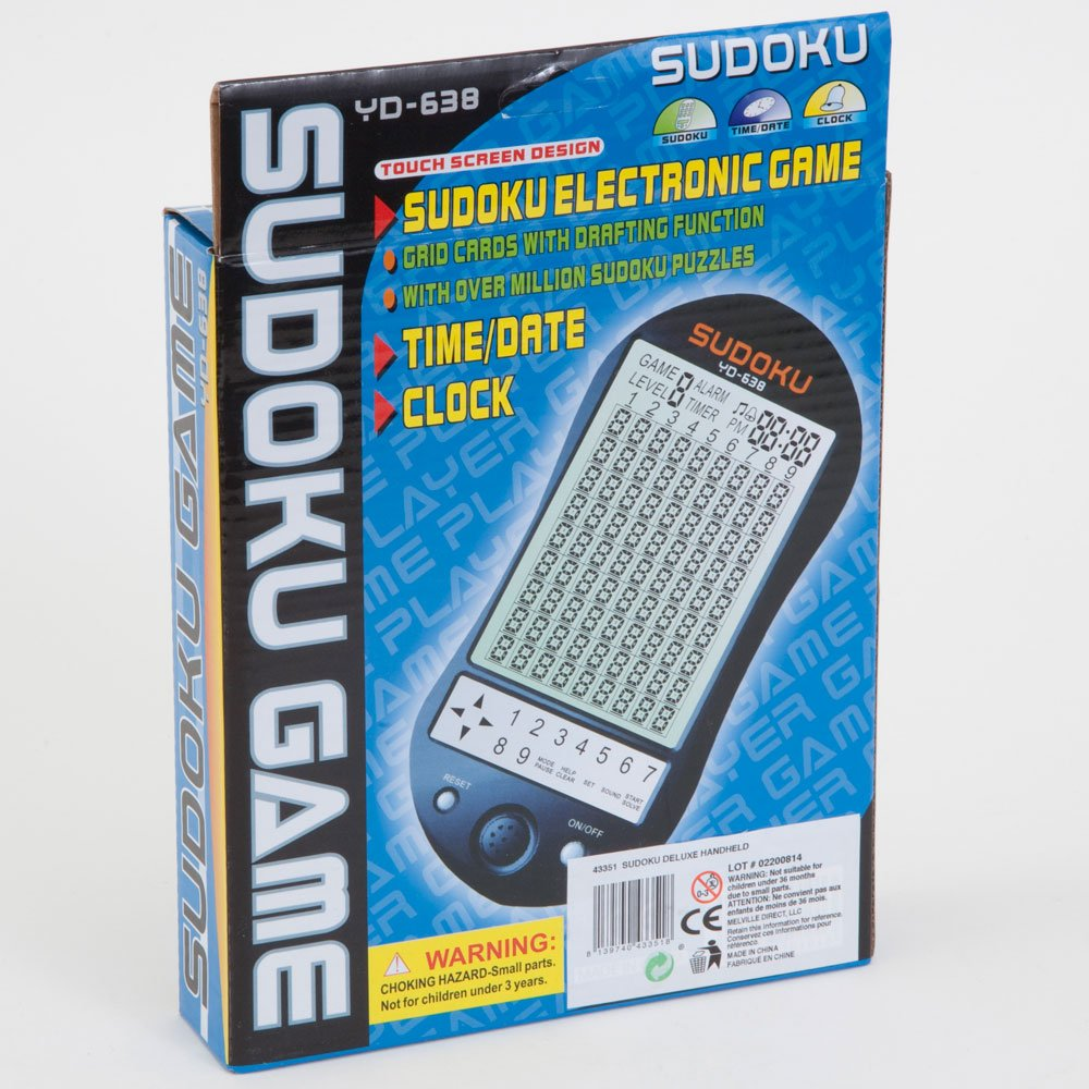 Bits and Pieces - Deluxe Sudoku Handheld Game - Electronic Pocket Size Sudoku Game, LED Screen, Great Gift - Measures 2-3/4'' wide x 4-3/4'' long x 3/4'' deep