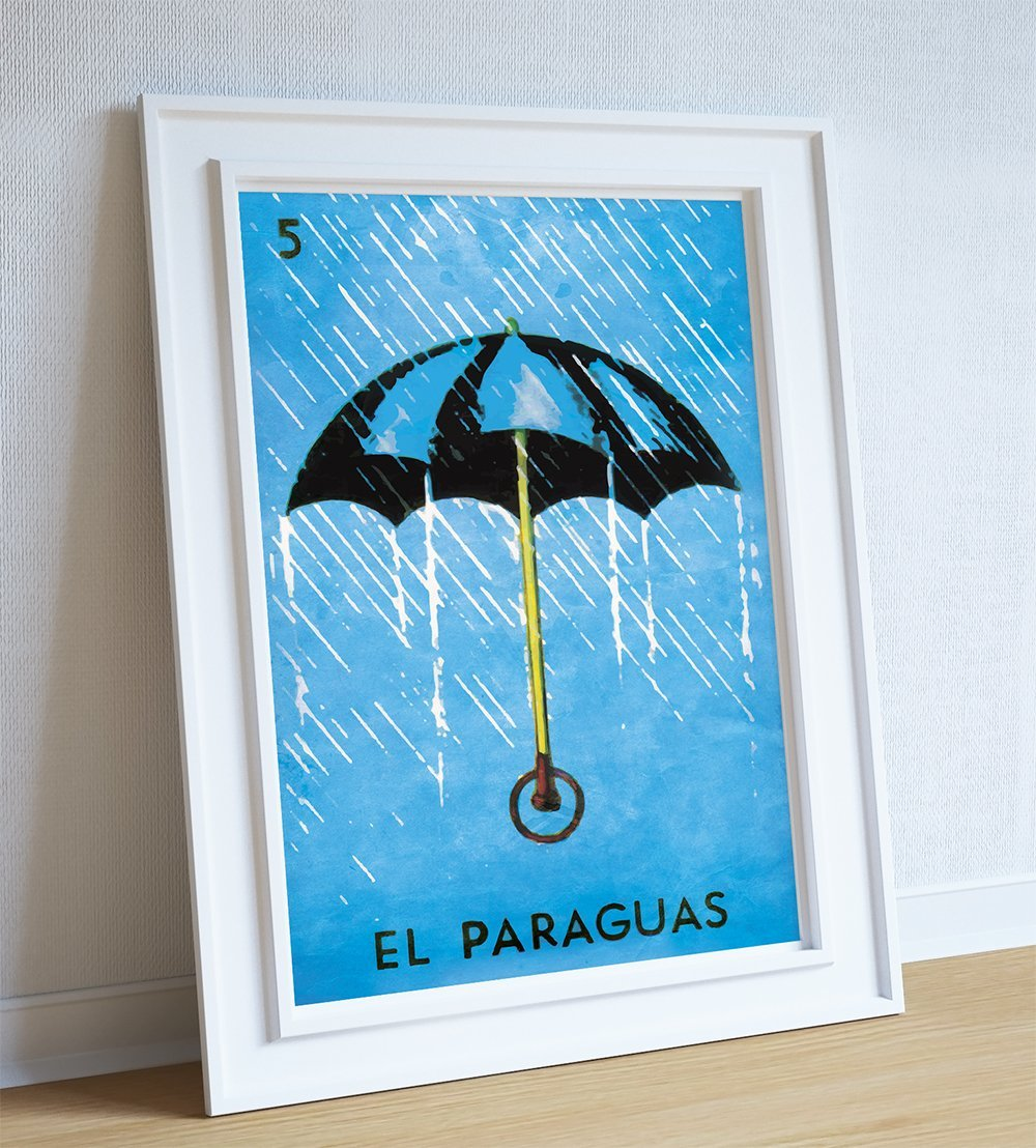 Amazon.com: Loteria El Paraguas Mexican Retro Illustration Art Print Vintage - Large Giclee on Cotton Canvas and Satin Photo Paper: Handmade