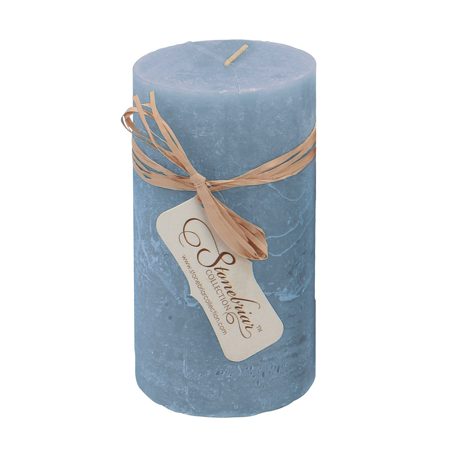 Stonebriar Chambray Textured Pillar Candle, 3 by 4