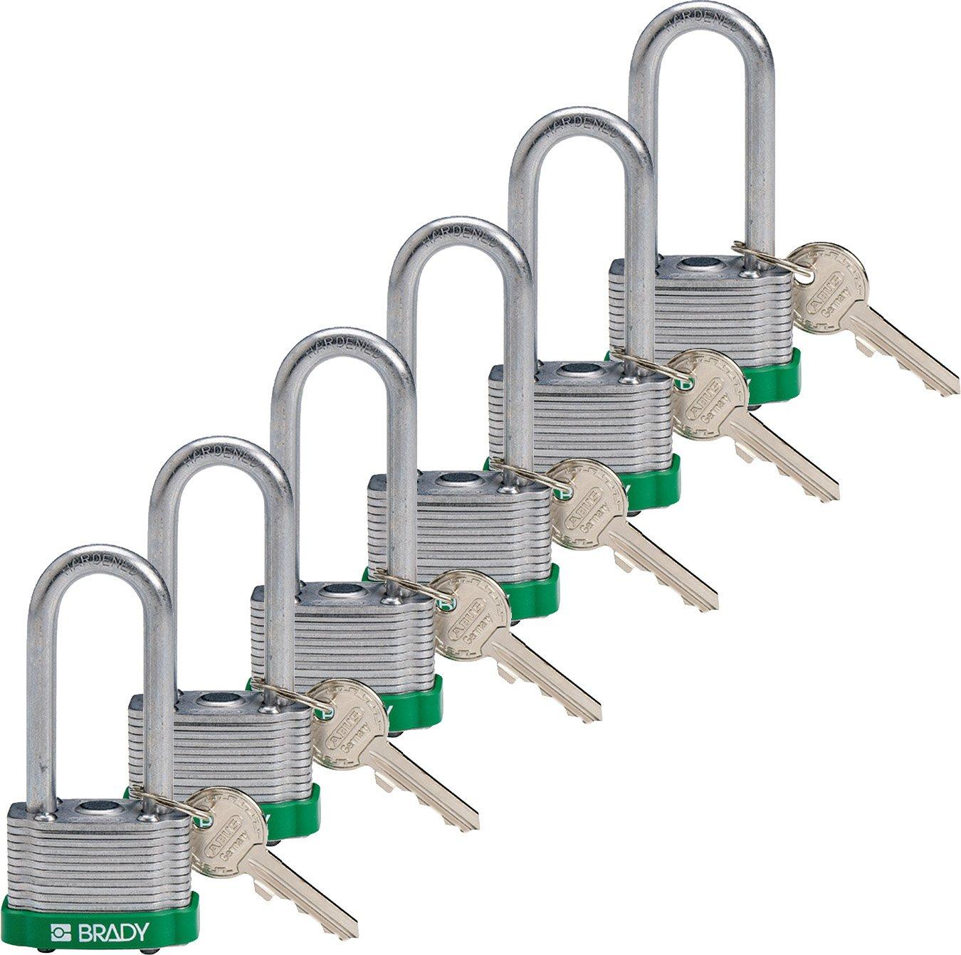 Brady 118976 Green, Key Retaining Steel PadLock - 2'' Shackle - Keyed Alike (6 Locks)