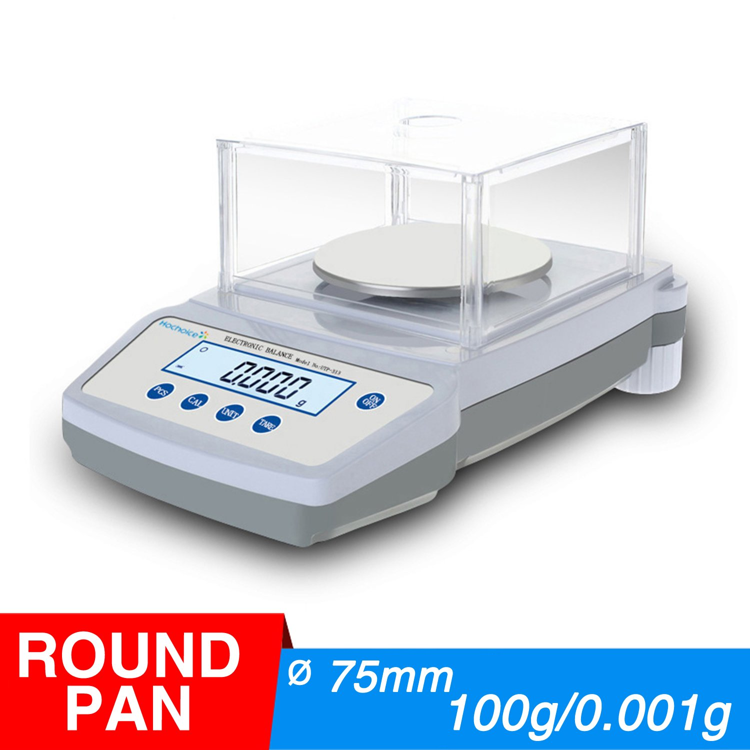 Hochoice Accuracy 0.001g Precision Laboratory Electronic Analytical Balance,for Industrial, Agricultural, Scientific Research(Round pan) (Max Capacity:100g, Accuracy:0.001g)