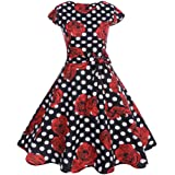 Vintage Hepburn Style Dress, Chic DIKEWANG Ladies Bodycon Short Sleeve Print Retro Evening Party Prom