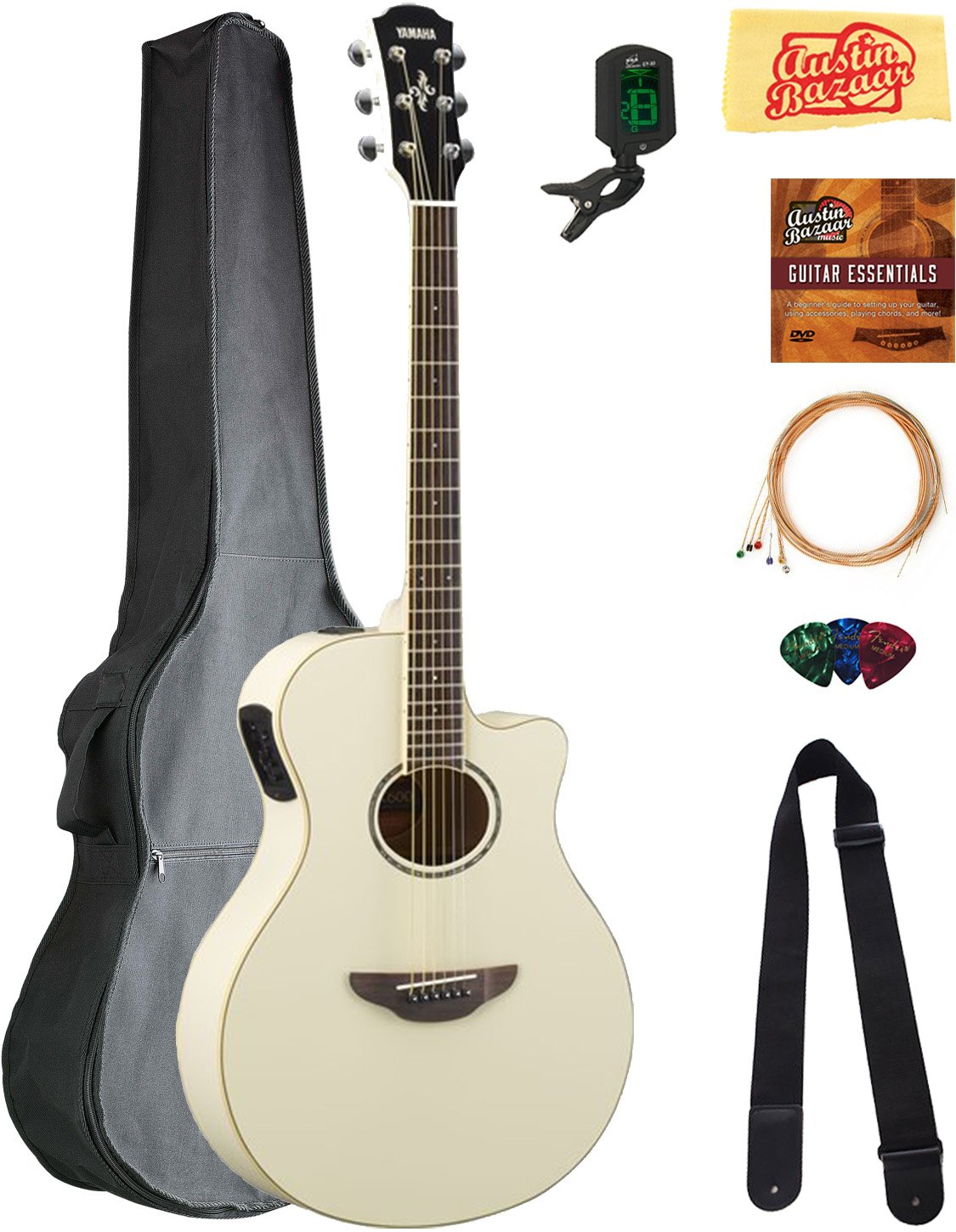 Yamaha APX600 Thin Body Acoustic-Electric Guitar - Vintage White Bundle with Gig Bag, Tuner, Strings, Strap, Picks, Austin Bazaar Instructional DVD, ...