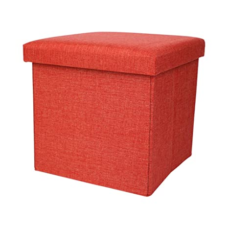 FOME Linen-Like Fabric Storage Ottoman Cube Folding Storage Ottoman Thickening Sponge Foot Stool with Storage Folding Toy Chest Quick and Easy Assembly 11.8x11.8x11.8 inch Storage Stool Ottoman