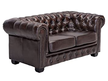 Woodkings Chesterfield Sofa 2 Sitzer Braun Vintage Echtleder Couch