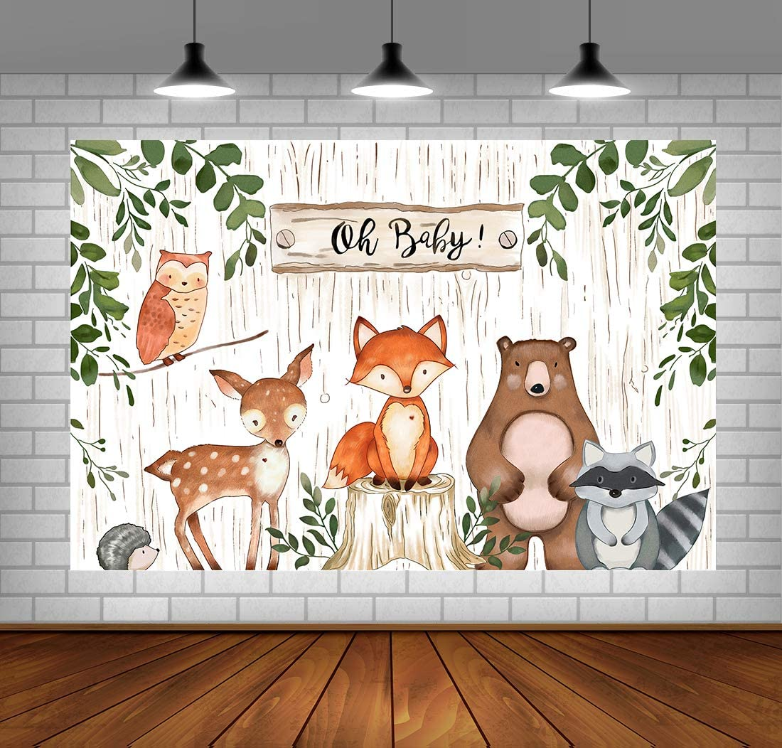 Woodland Backdrop for Baby Shower Jungle Animals Theme Baby Shower Background Woodland Baby Shower Decorations Vinyl Woodland Background for Birthday Party 5x3ft