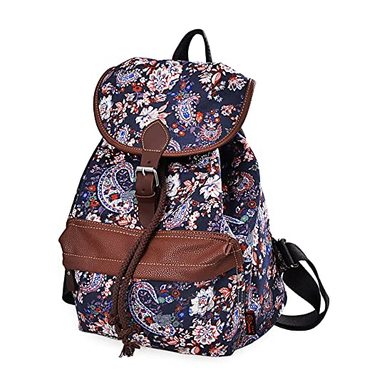 Douguyan Cute Lightweight Casual Backpack for Teenage Girls Women Print Daypack (Blue Rose) 164