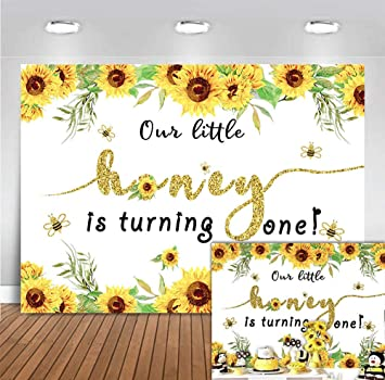 Sunflower Girl Dots Birthday Banner Party Decoration Backdrop