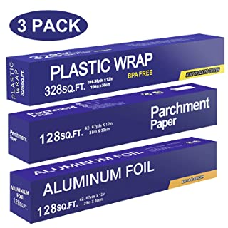 Baking Parchment Paper 128 SQ FT, Standard Aluminum Foil Paper 128 SQ FT, Quick Cut Plastic Food Wrap 328 SQ FT, 3 Packs