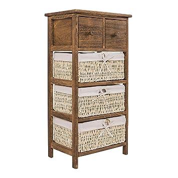 b1451fc42 Rebecca Mobili Armario rústico, mueble baño con 2 cajones, 3 cestas, madera  mimbre