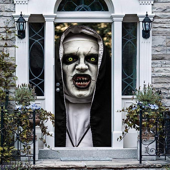 Anphsin Halloween 3D Nun Door Stickers, 30 x 80 Inches Horrible Ghost Nun Lifelike Door Wallpaper Sticker for Halloween Decoration, Party Decors - - Amazon.com