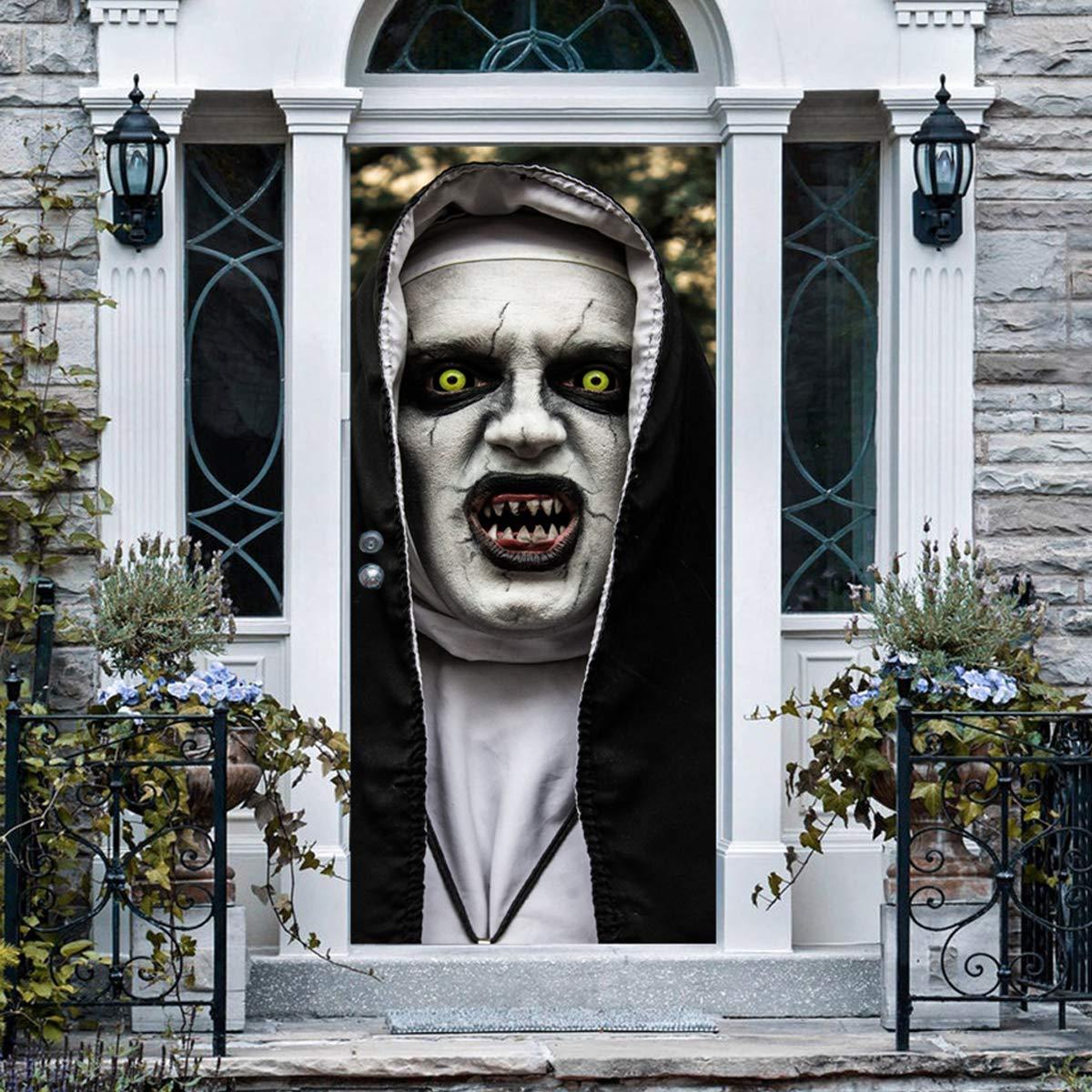 Anphsin Halloween 3D Nun Door Stickers, 30 x 80 Inches Horrible Ghost Nun Lifelike Door Wallpaper Sticker for Halloween Decoration, Party Decors by ANPHSIN