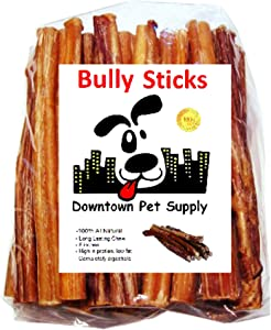 Downtown Pet Supply 6 inch Bully Sticks, Standard Regular Thick Select Dog Dental Chew Treats