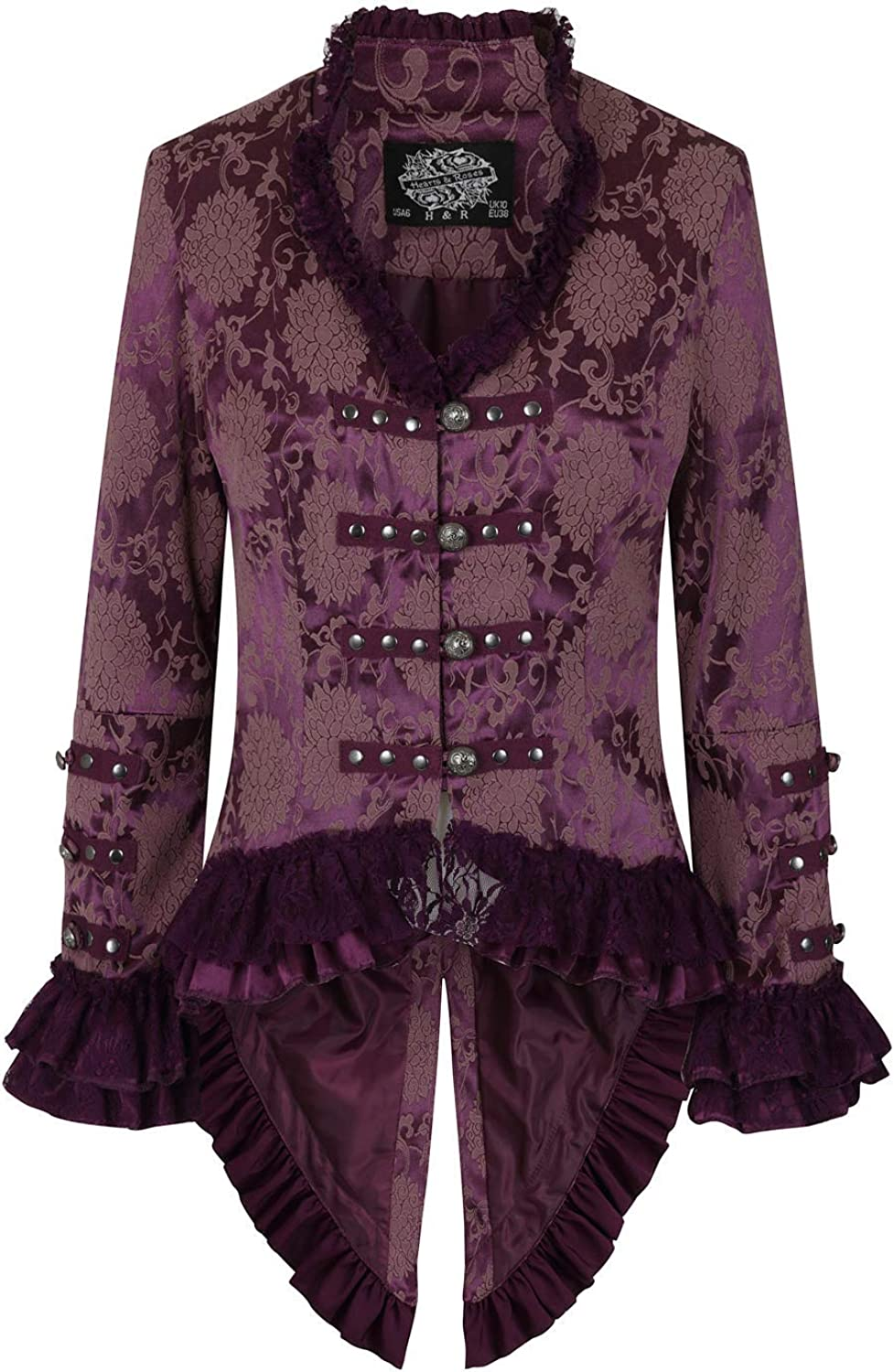 Hearts & Roses Womens Victorian Steampunk Brocade Tailcoat Corset Back
