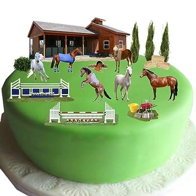 équestre Cheval & Poney Scène gâteau en papier gaufrette comestible–Idéal pour décorer votre anniversaire cakes- facile à utiliser