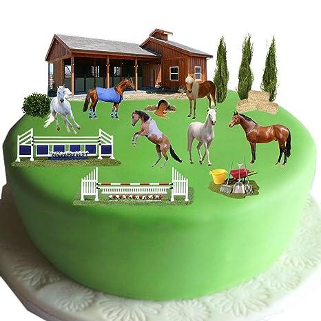 Equestrian caballo y Pony tarta escena hecho de papel comestible – perfecto para decorar tu cumpleaños