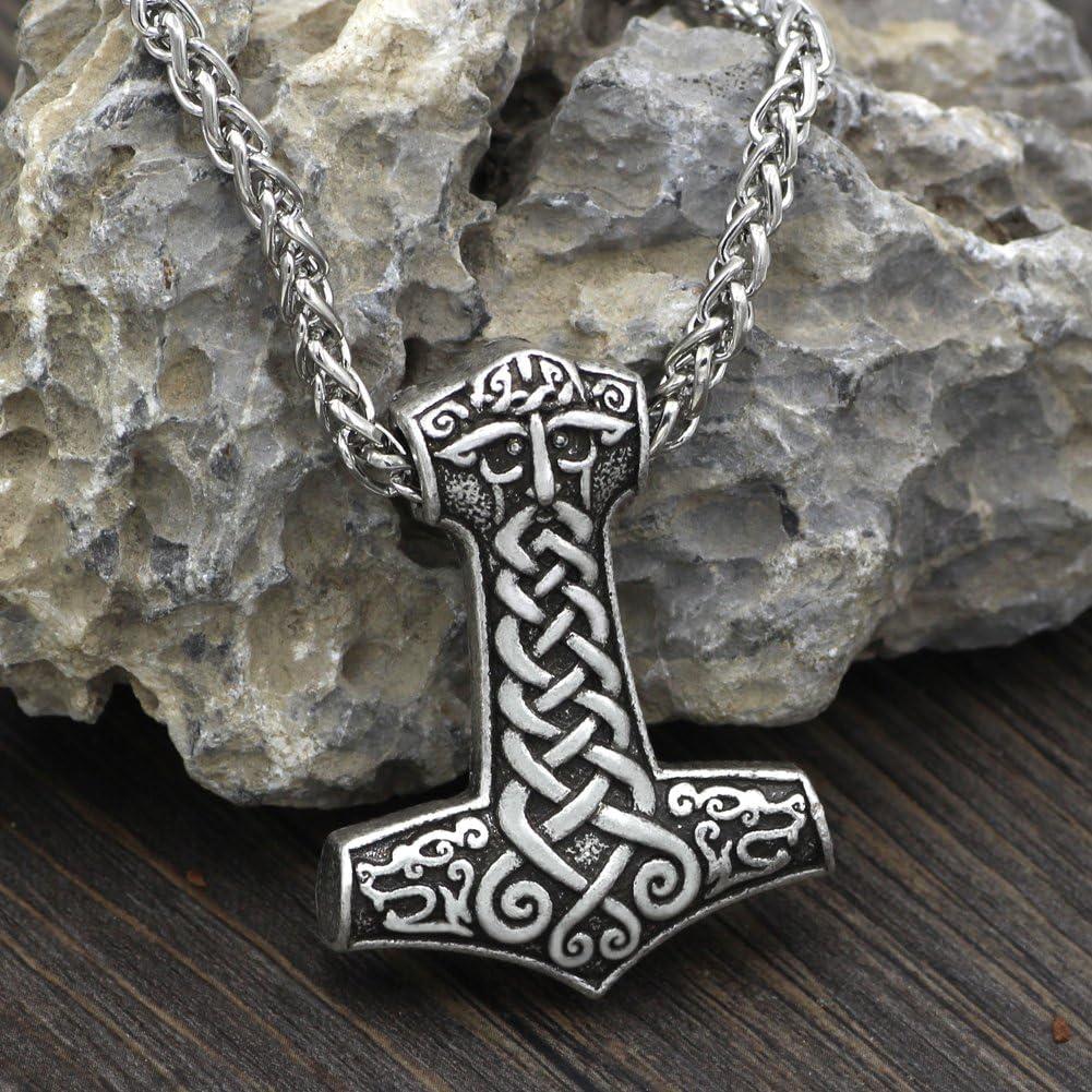Classique Viking Odin Face avec deux Viking Loups Amulette Collier Pendentif marteau de Thor Mjolnir Steampunk scandinave Pagan Fenrir Nordic/ /Cha/îne en Acier Inoxydable
