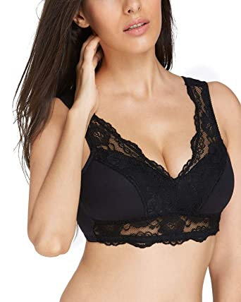 a0db877098b KISSLACE Women Lace Wireless Plus Size Minimizer Bra Full Coverage Vest  Bras Black XS
