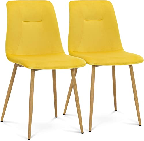 Ivinta Yellow Velvet Dining Chairs Set of 2 Modern Living Room Armless Chairs Modern Upholstered Kitchen Chairs Mid Century Side Chair