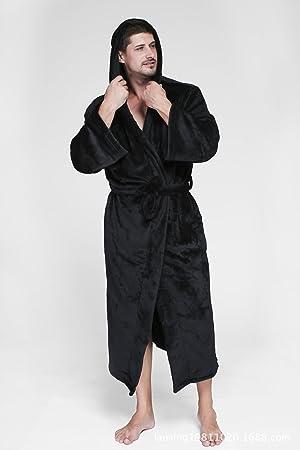 HUAN Albornoz para Hombres Coral Fleece Tallas Grandes Batas de baño Batas térmicas/Abrigos Calientes