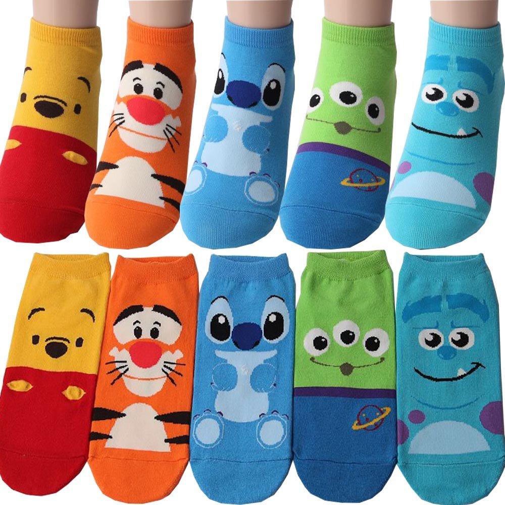 Pack of 5 pairs Disney Winnie The Pooh Tigger Monsters, Inc. Sulley Alien Alien Stitch Socks Character Licensed Socks