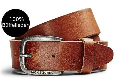 JACK   JONES Herren Leder Gürtel Ledergürtel schwarz cognac brauner breiter  Gratis Leder Pflege von B46  Amazon.de  Bekleidung 913fbd5321