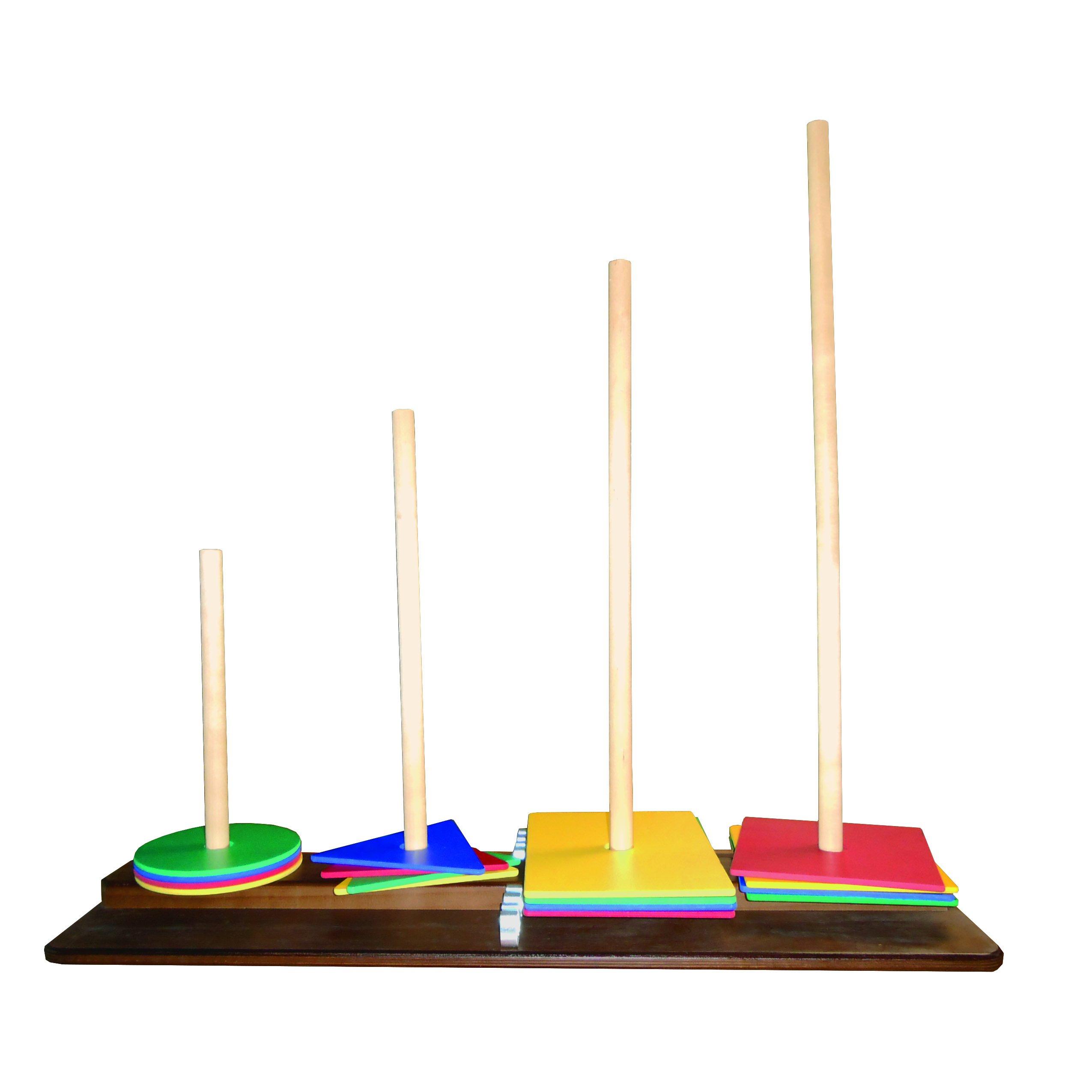 Rehabilitation Advantage Cognitoys Set, Wood Base & Colorful Shapes, 15 Pound