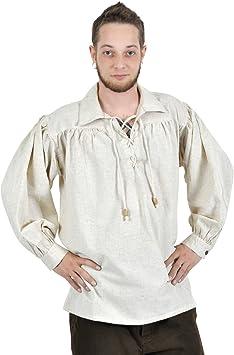 Camisa medieval de hombre - fiel al estilo - acordonada - robusta y ligera - blanca - L: Amazon.es: Juguetes y juegos