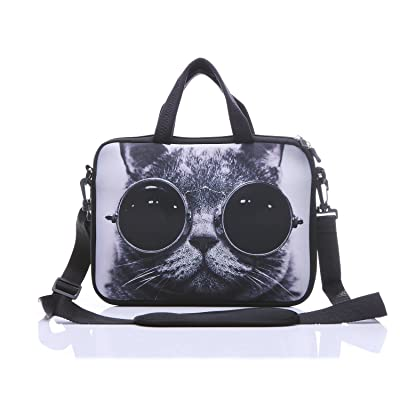 """11-Inch to 12-Inch Neoprene Laptop Sleeve Case Bag with shoulder strap For 11"""" , 11.6"""" , 12"""" Ultrabook/Acer/ Asus/Dell/HP/Toshiba/Lenovo/Chromebook (Grey cat with sunglasses)"""