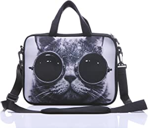 "11-Inch to 12-Inch Neoprene Laptop Sleeve Case Bag with shoulder strap For 11"", 11.6"", 12"" Ultrabook/Acer/Asus/Dell/HP/Toshiba/Lenovo/Chromebook (Grey cat with sunglasses)"