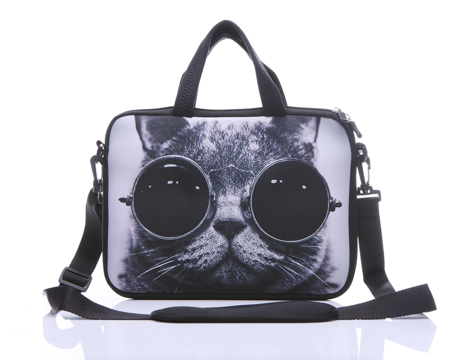 11-Inch to 12-Inch Neoprene Laptop Sleeve Case Bag with shoulder strap For 11'' , 11.6'' , 12'' Ultrabook/Acer/ Asus/Dell/HP/Toshiba/Lenovo/Chromebook (Grey cat with sunglasses)