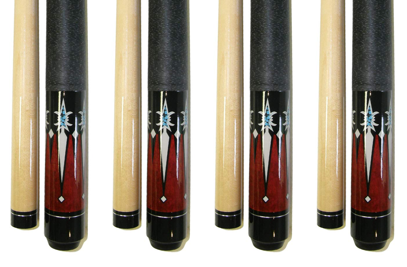 Lot of 4-58'' 2 Piece Hardwood Canadian Maple Pool Cue Billiard Table Stick 18-21 Oz with Steel Joint (set6)