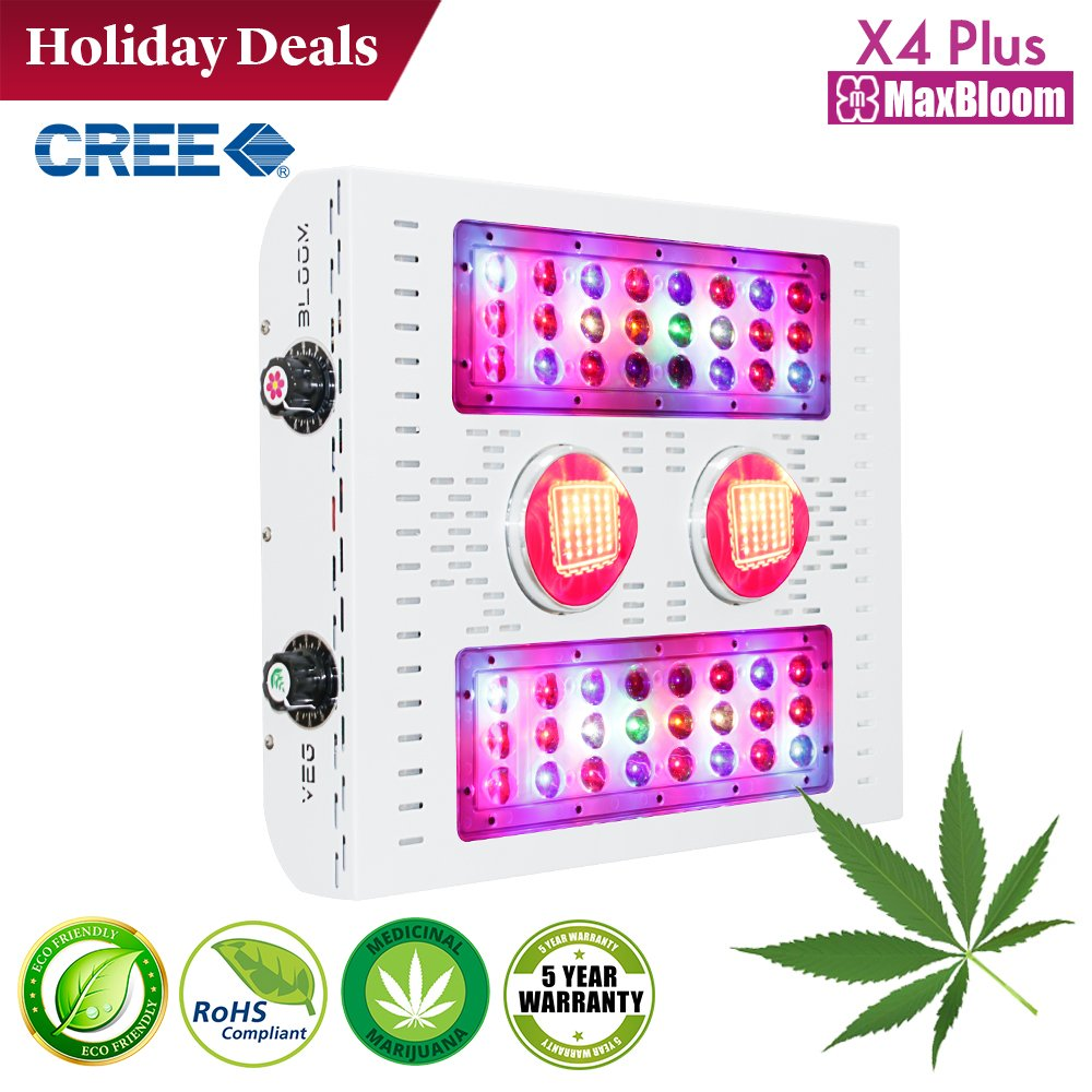 LED grow light COB led grow light dimmable 12-band full spectrum for indoor plants veg and flower UV&IR MaxBloom high yield 400W X4 Plus led grow light for marijuana (2017 X series) (CREE 400W)