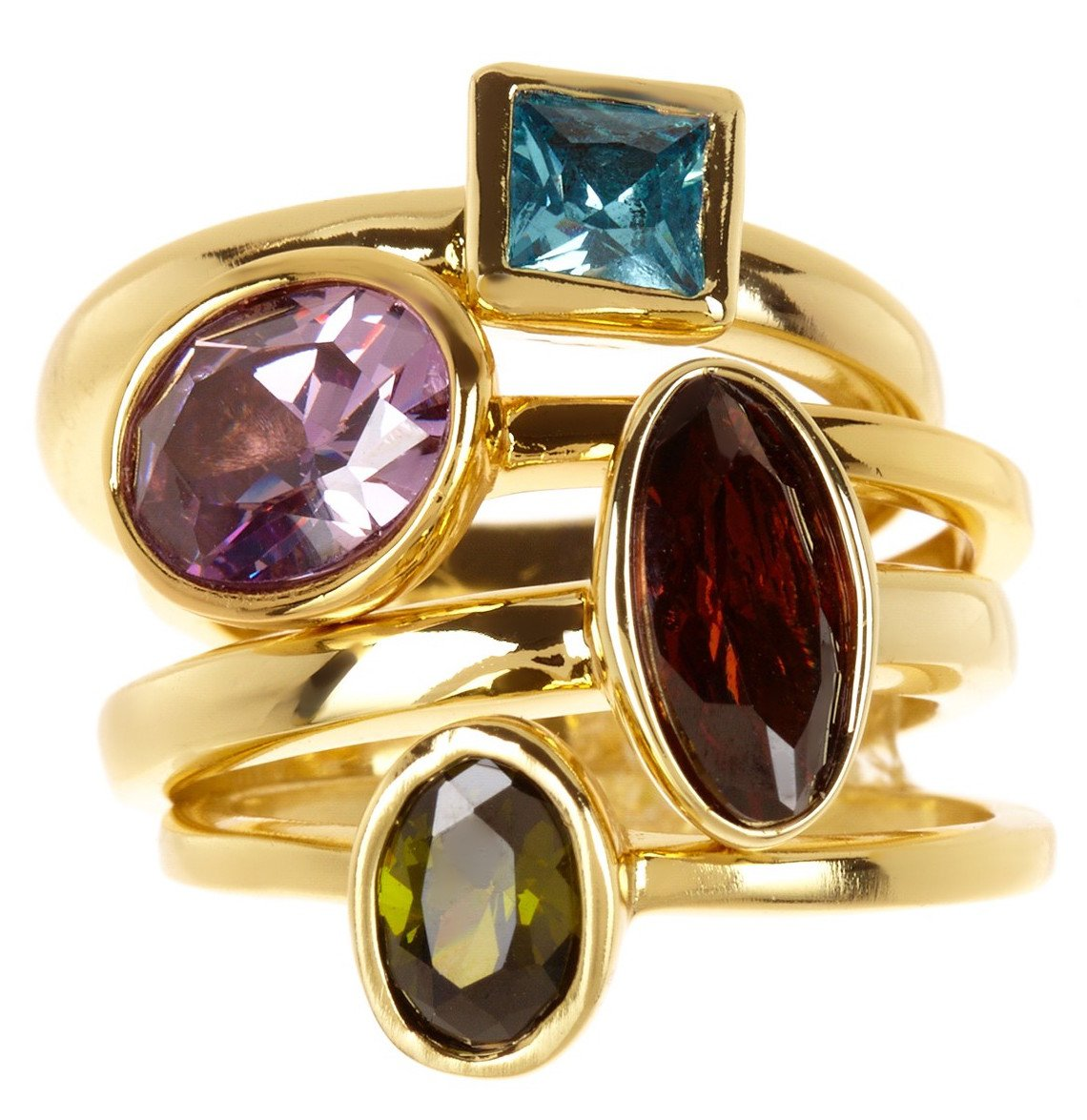 CZ Wholesale Gemstone Jewelry Stackable Ring Set (Size 5) by Gemaholique