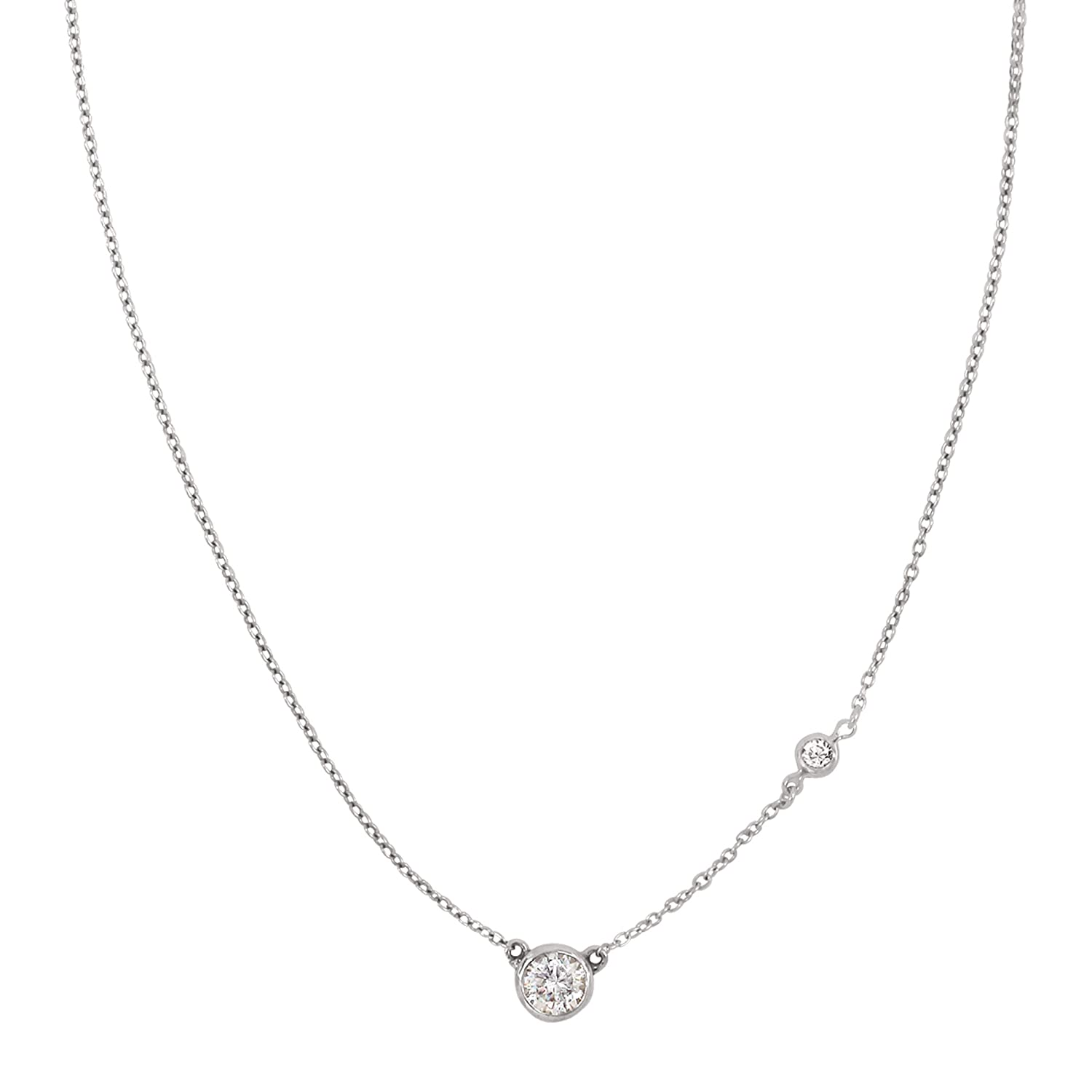 """Silpada 'Marvel' Circular Cubic Zirconia Station Necklace in Sterling Silver, 16"""" + 2"""""""