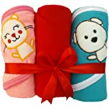 Brandonn Pack Combo Of Wrapper, Hooded Blanket And Bath Shower Towel For Babies ,Pink