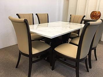 Mesa de comedor de mármol auténtico, color blanco + 6 sillas ...