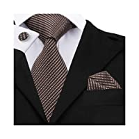 DiBanGu Men's Necktie Solid Silk Tie and Pocket Square Wedding Tie Cufflinks Set Formal