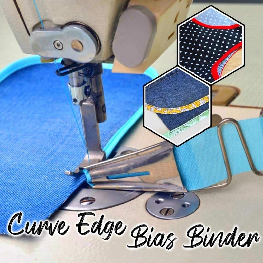 sakd Curve Edge Bias Binder Overlock Binding of Curve Edge Folder Foot Tape Double Fold Right Angle Hemming Sewing Tools for Machine Attachment 36mm