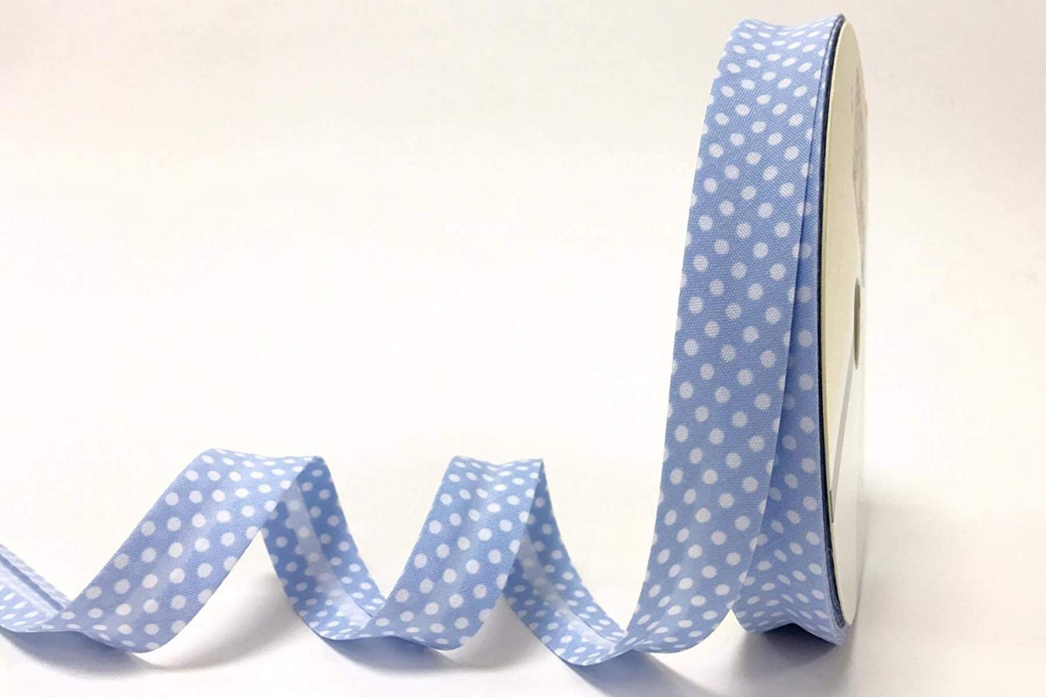 N.B. this is a cut from a roll Fany Pale Blue Polka Dot 18mm Bias Binding on a 3m Length
